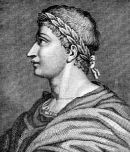 The Latin poet, Ovid, wearing the laurel wreath